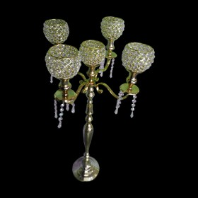 Tall Gold Crystal Candelabra