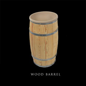 Wood Barrel w/ Flower Holder