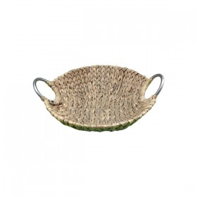 Round Weaved Basket with Metal Handles