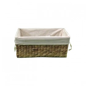 Rectangle Weaved Basket with Cloth Insert